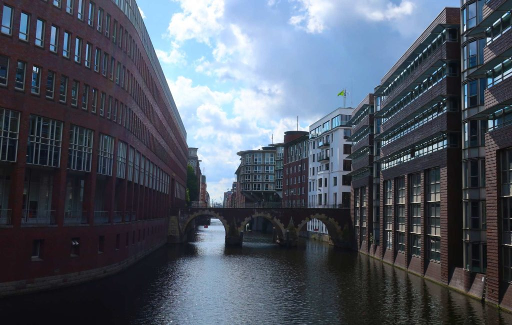 Water running through Hamburg, Germany