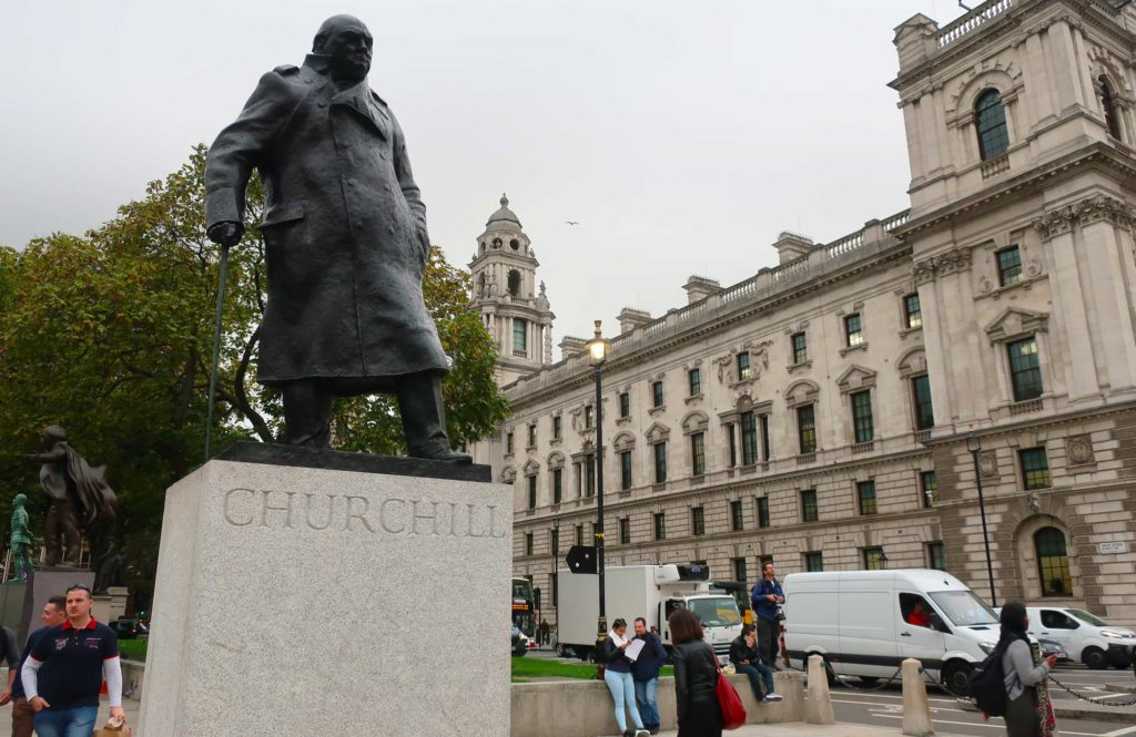 Winston Churchill statue in London, England