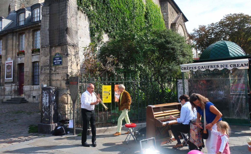 Curbside jazz in Paris, France