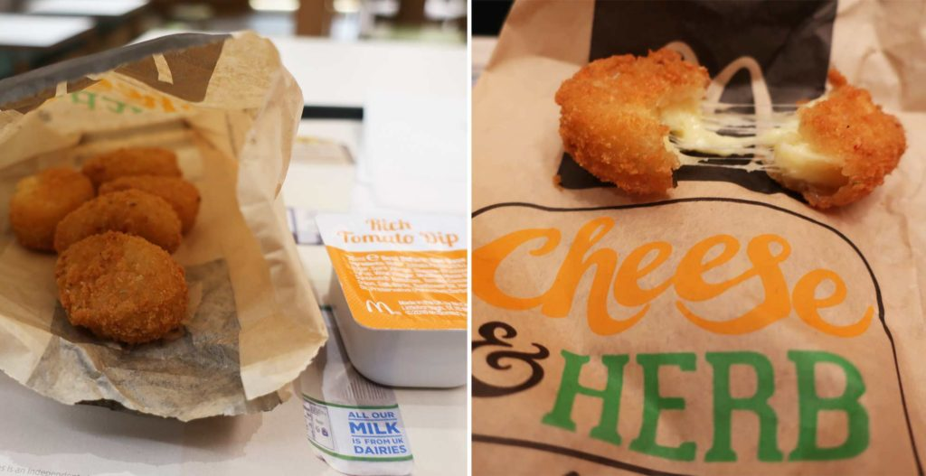 Cheese and Herb Melts from McDonald's in London, England