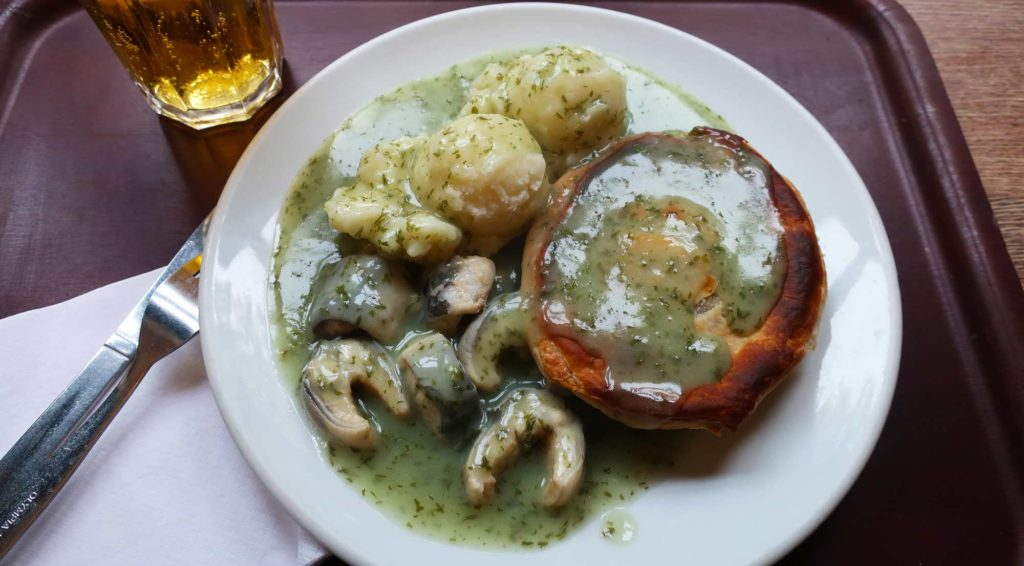 Pie and mash and eels at Goddards in London, England