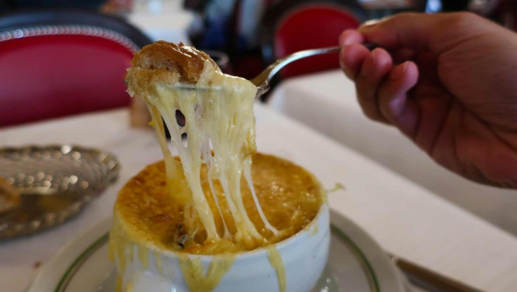 French onion soup from Au Pied de Cochon in Paris, France