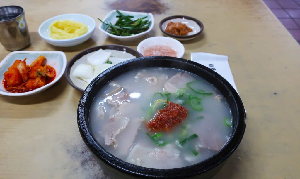 Pork and rice soup in Busan, South Korea