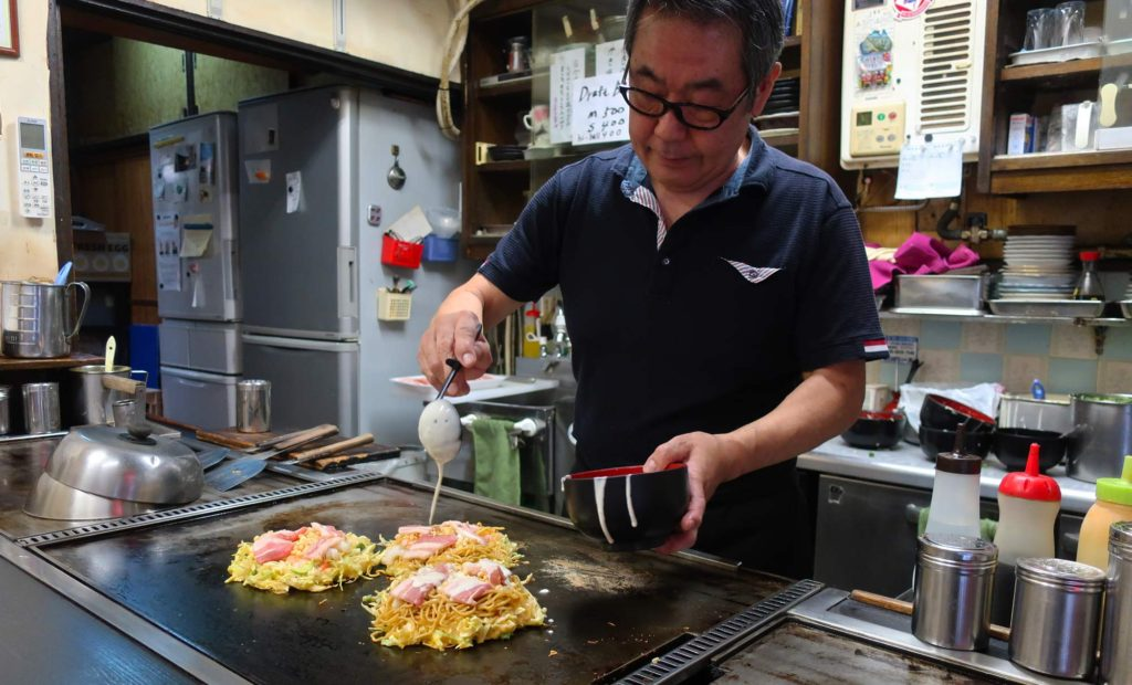 Okonomiyaki Chitose in Osaka, Japan