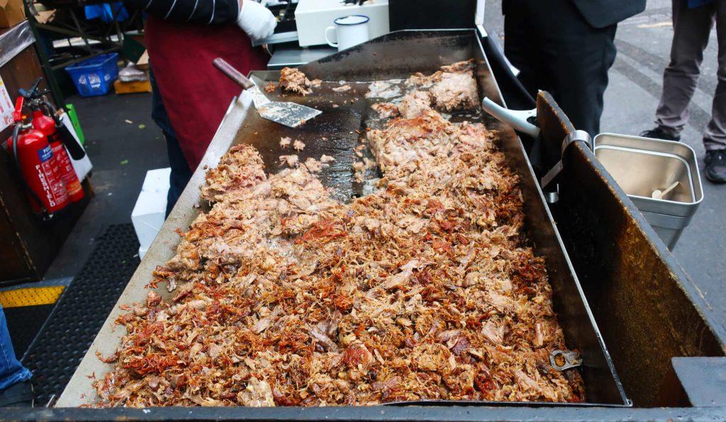 Duck confit sandwich at the Borough Market in London, England