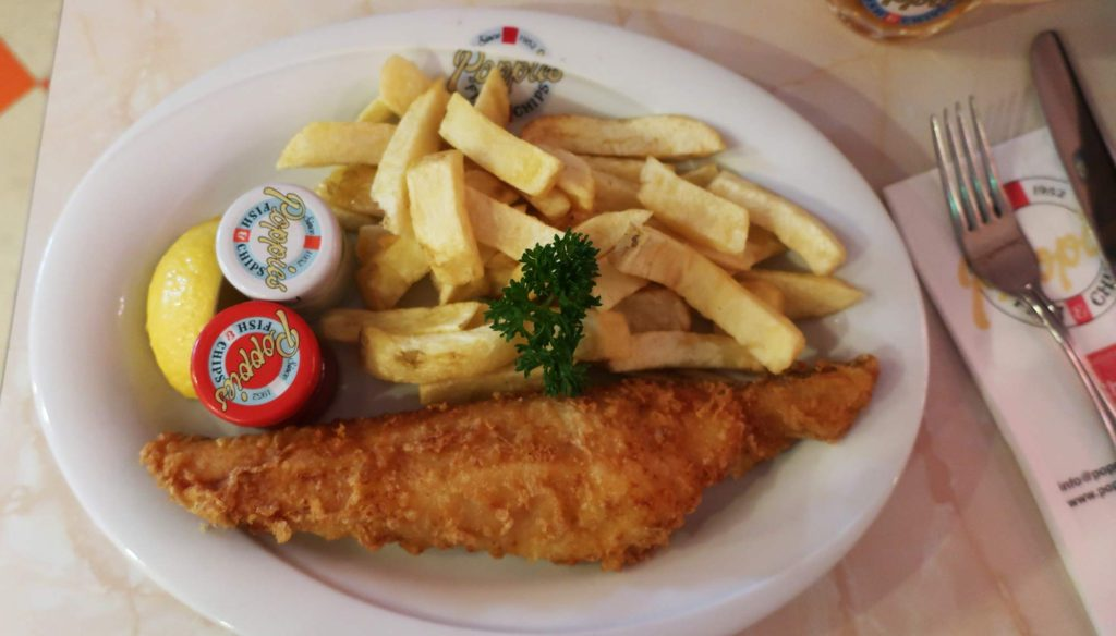 Fish and chips from Poppies in London, England