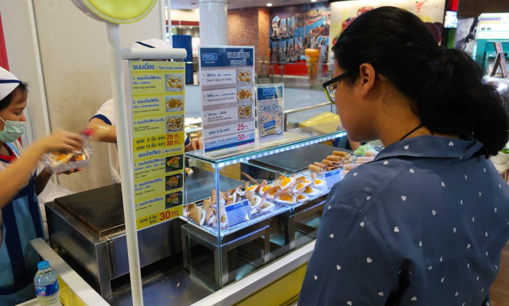 Khanom bueang at Terminal 21 food court in Bangkok, Thailand